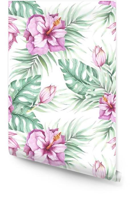 Jednolite wzór z kwiatów tropikalnych. Ilustracja akwarela. Tapeta w rolce - Rośliny i kwiaty