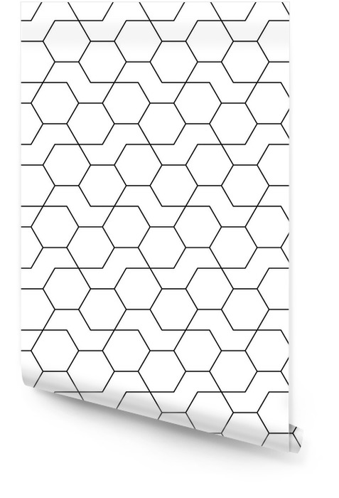Abstract geometrische zwart-wit hipster fashion design druk zeshoek patroon Behangrol - Slaapkamer