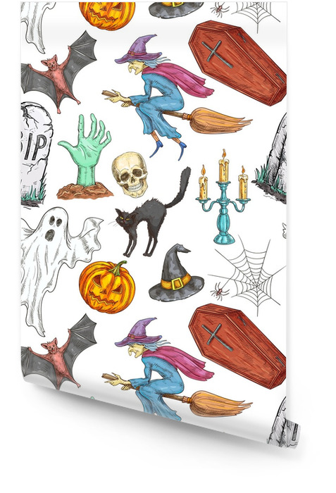 Modèle sans couture de halloween de symboles de croquis Rouleau de papier peint - Culture et religion