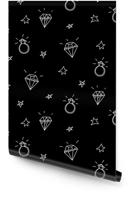 Vector seamless pattern with wedding rings, stars and jewels . Old school tattoo elements. Hipster style Wallpaper roll - Lifestyle
