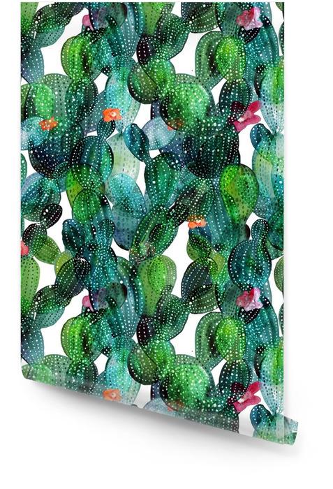 Patrón de cactus en el estilo de la acuarela Rollo de papel pintado - Plantas y flores