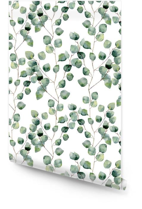Akwarela zielony kwiatowy szwu z okrągłymi liśćmi eukaliptusa. Ręcznie malowany wzór z gałęzi i liści eukaliptusa srebrnego dolara na białym tle. Do projektowania lub tła Tapeta w rolce - Rośliny i kwiaty