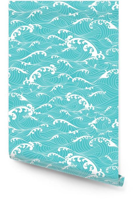 Vagues de l'océan, rayures main transparente tirées style asiatique Rouleau de papier peint - Ressources graphiques