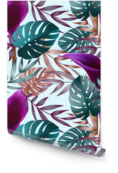 Trooppiset kukat, viidakon lehdet, paratiisin kukka lintu. Rullatapetti - Kasvit Ja Kukat