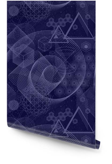 El fondo abstracto de ciencia y matemática con círculos, cubo, triángulos y muchas líneas. telón de fondo de geometría sagrada. la química y la astrología. elementos gráficos para el diseño de identidad. Rollo de papel pintado - Recursos gráficos