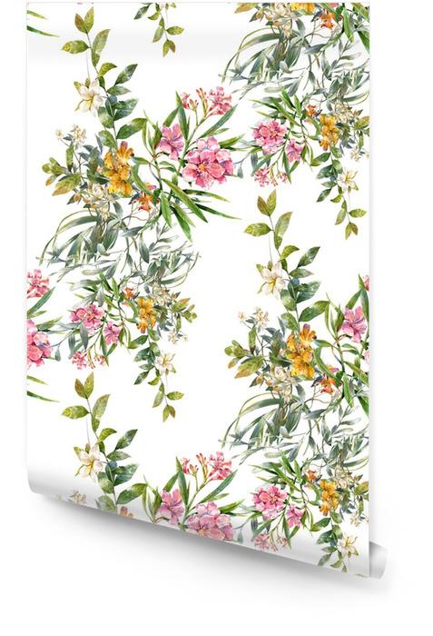 Acuarela de la pintura de hojas y flores, patrón transparente sobre fondo blanco Rollo de papel pintado - Hobbies y entretenimiento