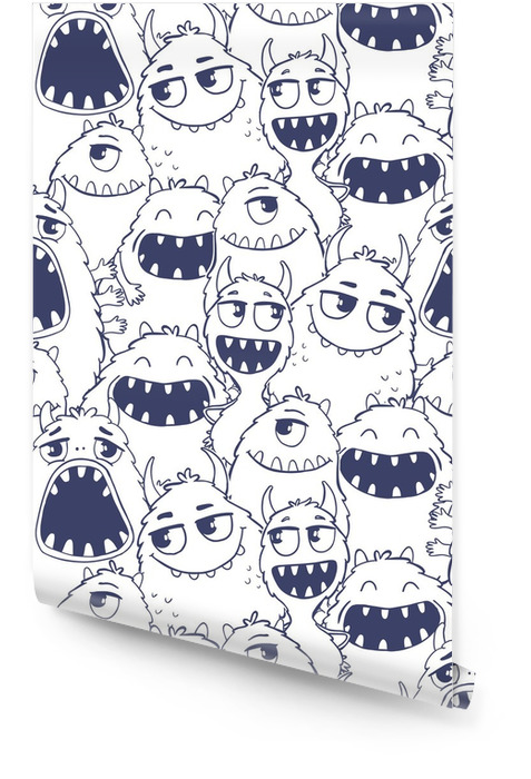 Seamless pattern with monsters. Wallpaper roll - Animals
