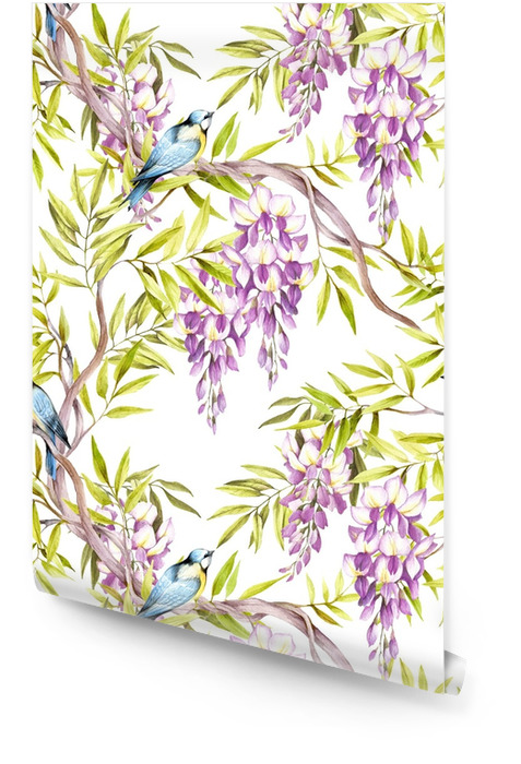 Seamless pattern with wisteria. Hand draw watercolor illustration Wallpaper roll - Plants and Flowers