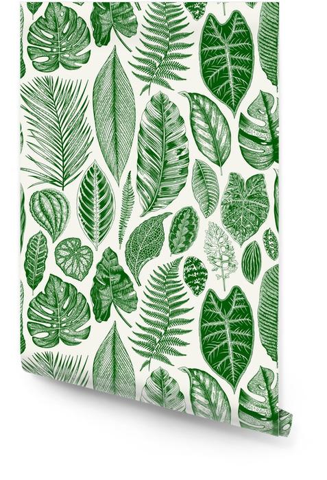 Vektor nahtlose Vintage Blumenmuster. exotische Blätter. botanische klassische Illustration. Grün Tapetenrolle - Pflanzen und Blumen