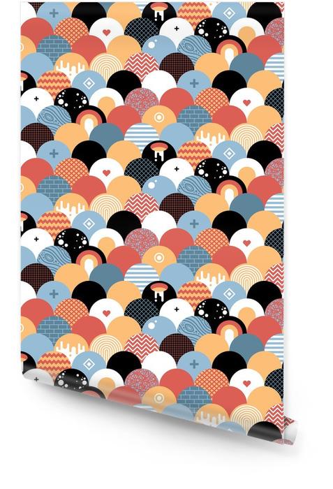 Naadloze geometrische patroon in vlakke stijl. Nuttig voor het verpakken, wallpapers en textiel. Behangrol - Grafische Bronnen
