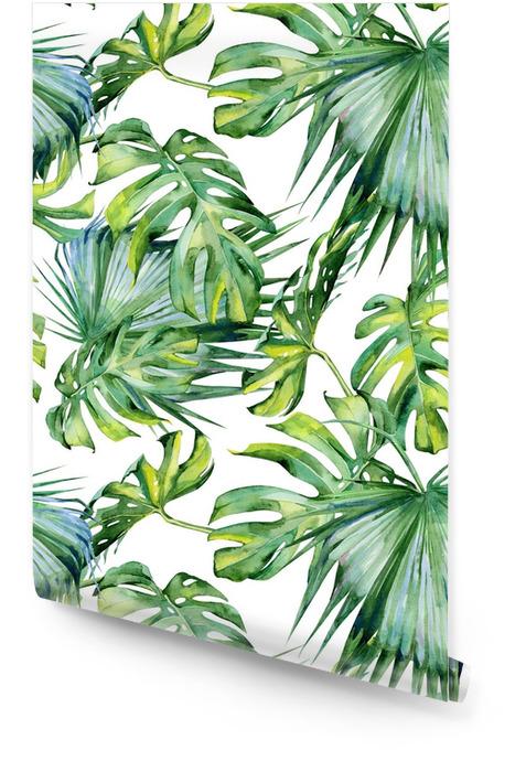 Tropik yapraklar, yoğun orman kesintisiz suluboya illüstrasyonu. el ile çizilmiş. tropik yaz dönemi motifli afiş, arka plan dokusu, ambalaj kağıdı, tekstil veya duvar kağıdı tasarımı olarak kullanılabilir. Rulo Duvar Kağıdı - Çiçek ve bitkiler