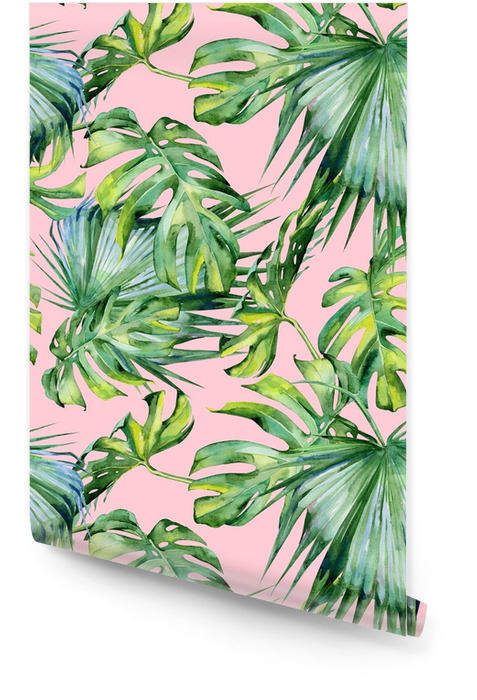 Seamless watercolor illustration of tropical leaves, dense jungle. Hand painted. Banner with tropic summertime motif may be used as background texture, wrapping paper, textile or wallpaper design. Wallpaper Roll - Plants and Flowers