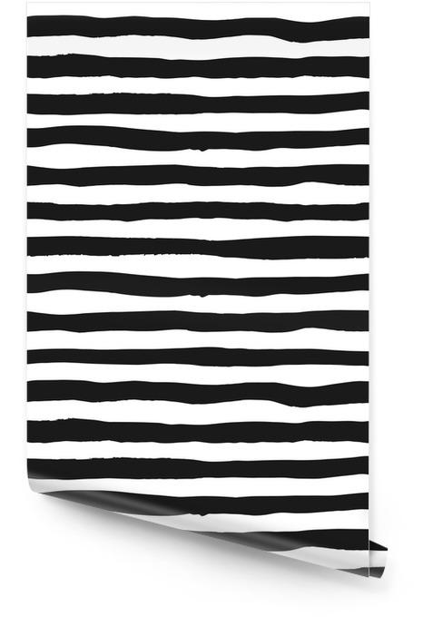 Grunge szwu czarno-białych linii, bezszwowe tło grunge monochromatyczne paski, ręcznie rysowane wektor wzór włókienniczych, tapety, projektowanie stron internetowych, pakowanie, tkaniny, papier Tapeta w rolce - Zasoby graficzne