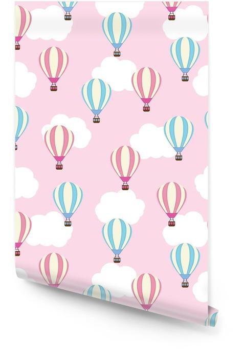 Naadloze achtergrond van baby douche illustratie met schattige hete luchtballon op roze achtergrond geschikt voor kinderen behang, briefkaart en scrapbooking papier Behangrol - Levensstijl
