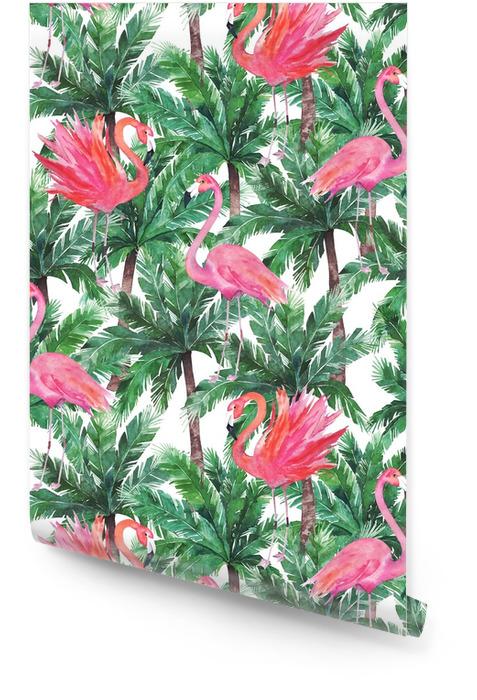 Akwarela różowe flamingi, egzotyczne ptaki, tropikalne liście palmowe. s Tapeta w rolce - Zasoby graficzne