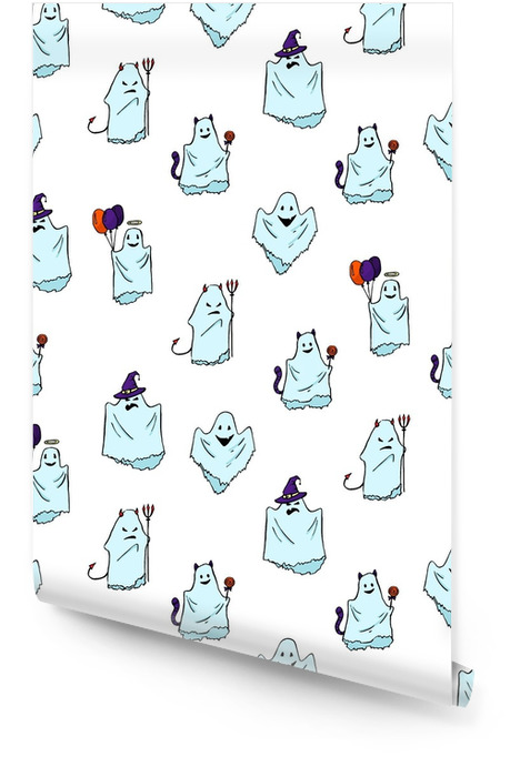 Seamless hand drawn ghost pattern. Pretty spooky characters. Wallpaper roll - Culture and Religion