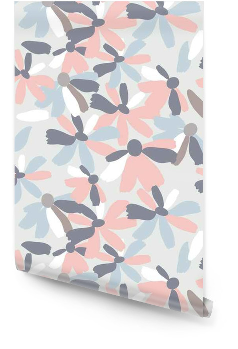 Jednolite wzór z kwiatów w pastelowych kolorach Tapeta w rolce - Rośliny i kwiaty