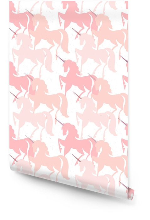 Pink Unicorns. Seamless vector pattern. Fairytale background with cute silhouettes of unicorns. Wallpaper roll - Animals