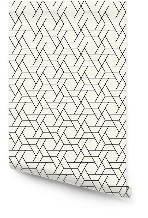 Abstracte geometrie zwart en wit hipster mode kussen zeshoek rasterpatroon Behangrol - Grafische Bronnen