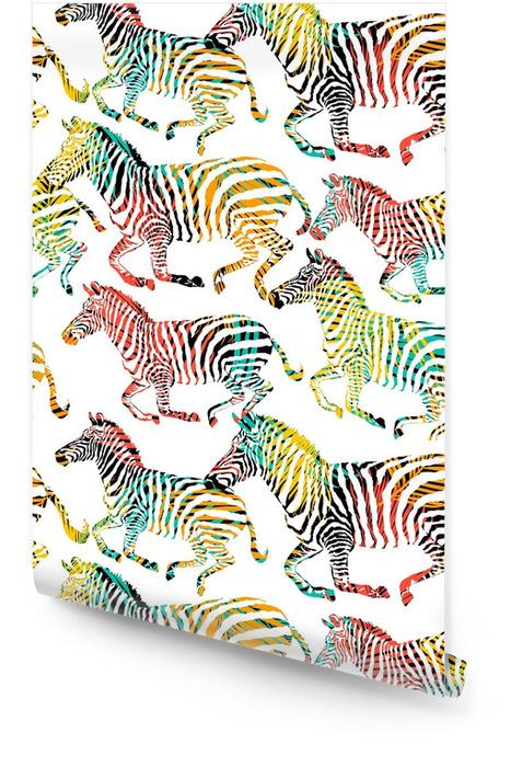 Gestreept tropisch dier in de jungle op kleurrijke schilderij hand getrokken achtergrond. druk naadloos vectorpatroon in manierstijlen af Behangrol - Dieren