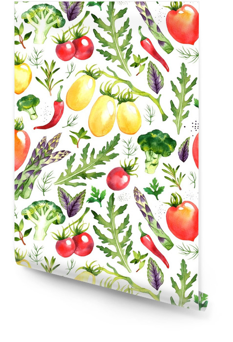 Patrón sin fisuras con verduras acuarela sobre fondo blanco Rollo de papel pintado - Comida