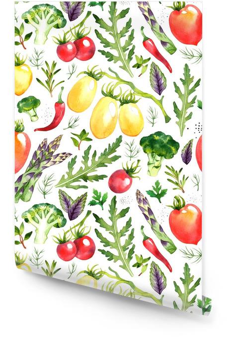 Wzór z akwarela warzyw na białym tle Tapeta w rolce - Jedzenie