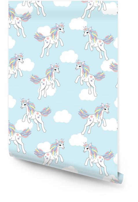 Bezszwowe tło ilustracji zwierząt z cute Jednorożca na niebieskim tle nieba nadaje się do tapety dla dzieci, papier świstek i pocztówki Tapeta w rolce - Zwierzęta