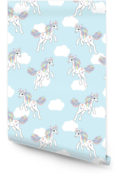 Seamless background of animal illustration with cute unicorn on blue sky background suitable for kid wallpaper, scrap paper, and postcard
