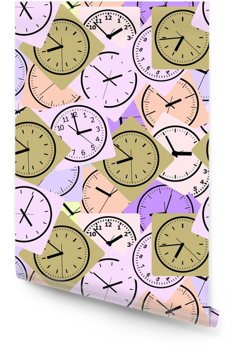 Seamless pattern composed of images hours. Vector illustration. Wallpaper roll - Graphic Resources