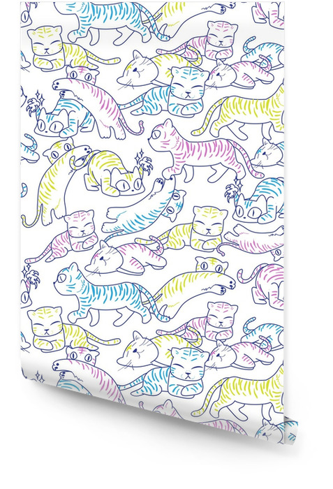 Seamless pattern of wild cat Wallpaper roll - Graphic Resources