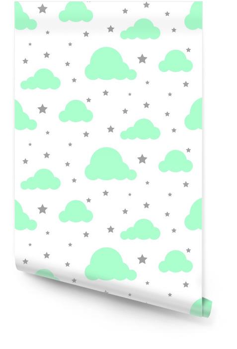 Starlight nocne niebo bezszwowe dziecko wektor wzór. białe tło. minimalistyczny styl niemowlęcy tkanina tkanina kreskówka skandynawski ornament. Tapeta w rolce - Zasoby graficzne