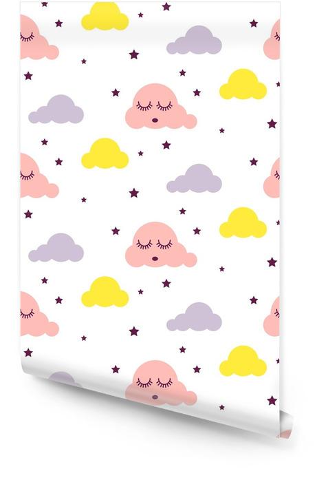 Patrón de vector de niño sin costuras de niña soñolienta nubes. fondo rosado, amarillo y blanco. ornamento escandinavo del dibujo animado lindo de la tela de materia textil del bebé. Rollo de papel pintado - Recursos gráficos