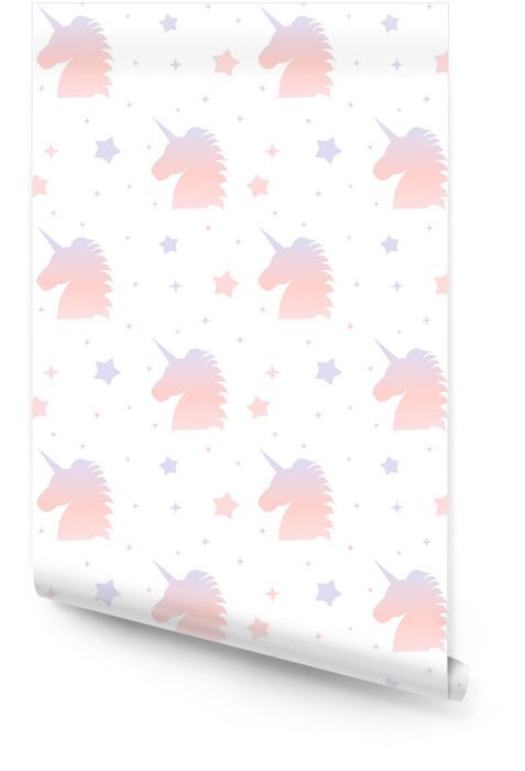 Śliczny gradientowy jednorożec sylwetki bezszwowy deseniowy tło ilustracja Tapeta w rolce - Zwierzęta