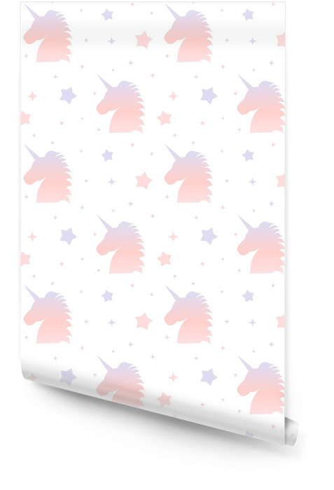 cute gradient unicorn silhouette seamless pattern background illustration Wallpaper roll - Animals