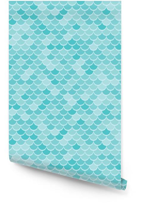 Fondo geométrico abstracto en el tema marino. seamless waves blue pattern o textura de squama. Rollo de papel pintado - Recursos gráficos