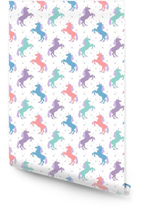 Naadloze patroon met eenhoorn silhouet. vectorillustratie leuke magische achtergrond. fantasie behang Behangrol - Grafische Bronnen