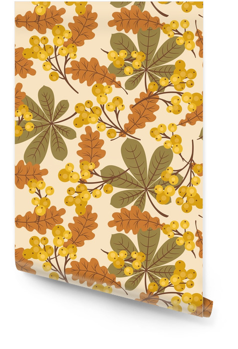 Autumn/fall leaves and berries seamless pattern Wallpaper roll - Graphic Resources