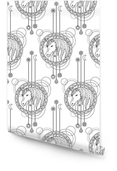 Geometric seamless unicorn Rouleau de papier peint - Animaux