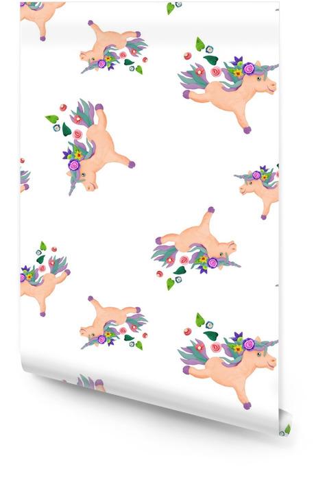 Plastelina baby animal 3d jednorożec rzeźby bez szwu deseń Tapeta w rolce - Zwierzęta