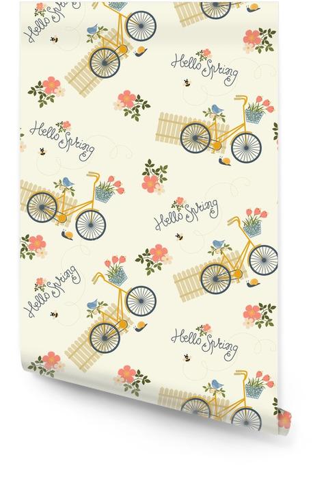 Patrón sin costuras floral de primavera Rollo de papel pintado - Recursos gráficos