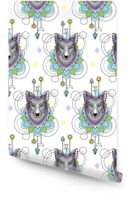 Modèle sans couture aquarelle loup abstrait Rouleau de papier peint - Animaux