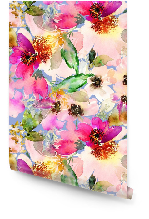 Bezszwowe lato wzór z akwarela kwiaty ręcznie robione. Tapeta w rolce - Zasoby graficzne