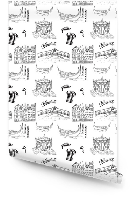 Venice Italy seamless pattern. Hand drawn sketch with gondolas, gondolier clothes, houses, market bridge and cafe table with chairs. Doodle drawing isolated on white. Wallpaper roll - Travel