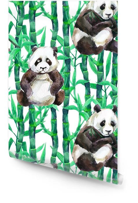 Panda met bamboe aquarel naadloze patroon Behangrol - Dieren
