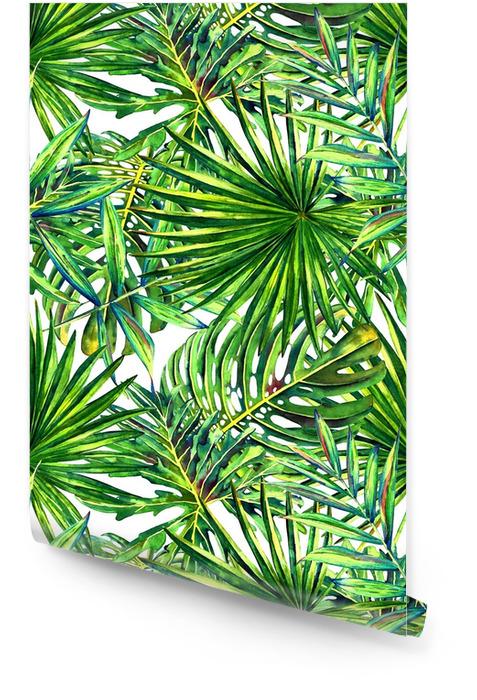 Naadloze bloemmotief met aquarel tropische palmbladeren. jungle gebladerte op witte achtergrond. textiel ontwerp. Behangrol - Grafische Bronnen