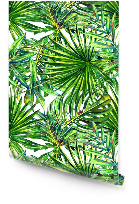 Suluboya ile tropikal palmiye yaprakları dikişsiz çiçek desen. orman yeşillik beyaz arka planda. Tekstil Tasarımı. Rulo Duvar Kağıdı - Grafik kaynakları