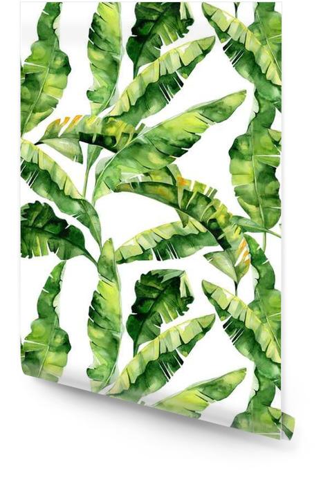 Bezszwowych akwareli ilustracji tropikalnych liści, gęste dżungli. Wzór z motywem lato tropików może być używany jako tekstura tła, papier pakowy, tekstylia, projekt tapety. Liści palmowych bananów Tapeta w rolce - Zasoby graficzne
