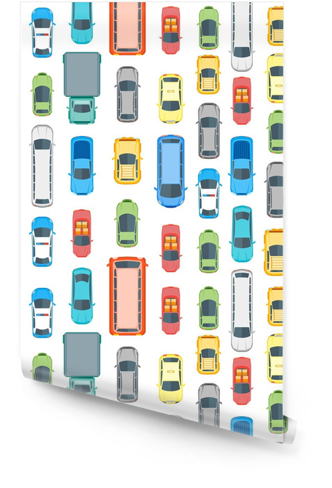 Cars Top View Background Pattern. Vector Wallpaper roll - Transport
