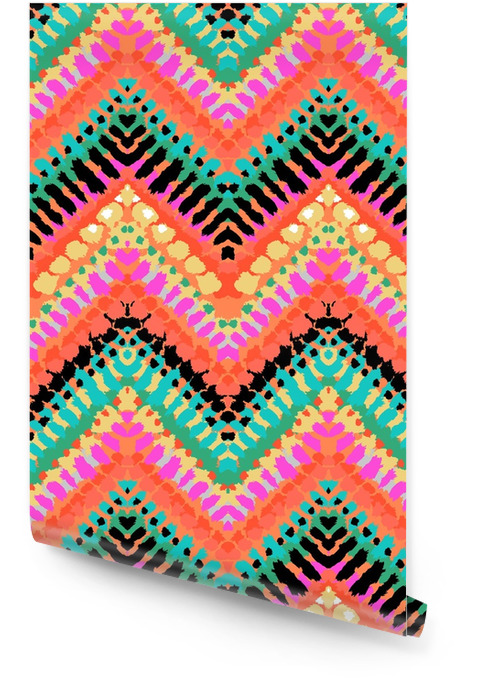 Mehrfarbenhand gezeichnetes Muster Zickzack Tapetenrolle - Grafische Elemente