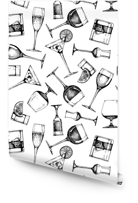 Patrones sin fisuras con diferentes copas de vasos Rollo de papel pintado - Bebida